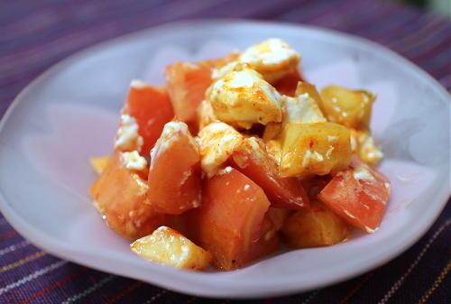 今日のキムチレシピ:トマトとクリームチーズと大根キムチの和えもの