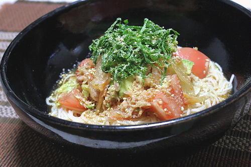 今日のキムチ料理レシピ:トマトキムチ素麺