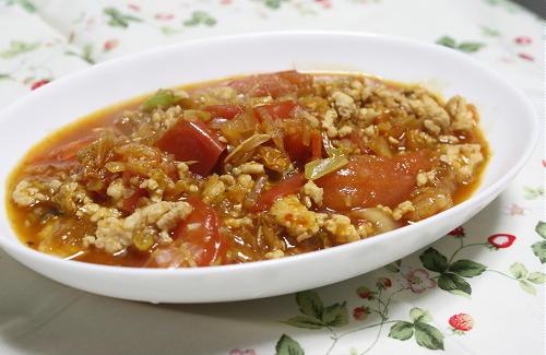 今日のキムチ料理レシピ:鶏ひきとトマトのキムチスープ