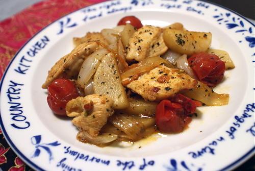 今日のキムチレシピ:鶏肉と大根のキムチ炒め