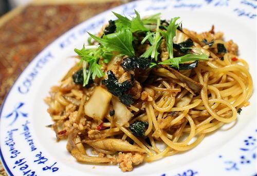 今日のキムチレシピ:鶏ごぼうキムチパスタ