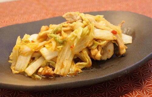 鶏肉と白菜のピリ辛炒めレシピ
