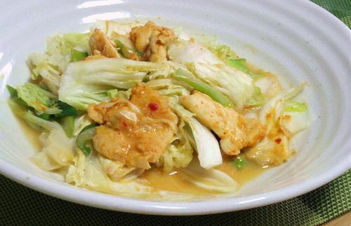 今日のキムチ料理レシピ:鶏肉と白菜のピリ辛味噌マヨ蒸し