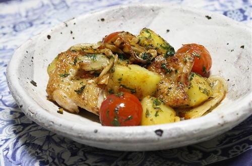 今日のキムチ料理レシピ:チキンとジャガイモのキムチしそ焼き