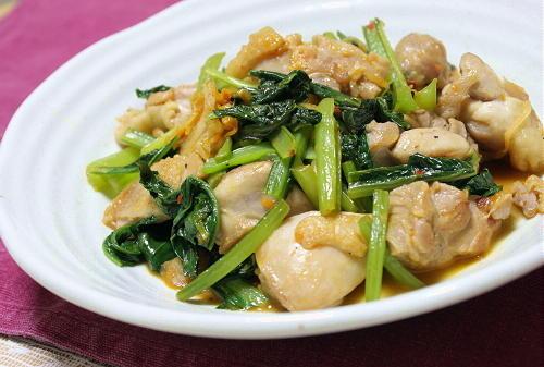 鶏肉と小松菜のキムチ炒め
