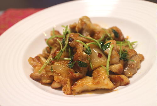 今日のキムチ料理レシピ:鶏肉とクレソンのキムチ炒め