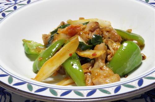 今日のキムチ料理レシピ:鶏肉と葱のキムチ炒め
