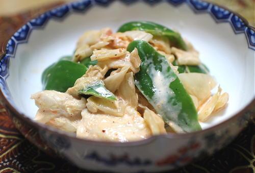 今日のキムチ料理レシピ:鶏ささみとピーマンのキムチマヨ和え