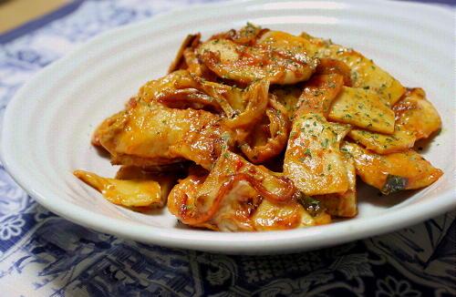 今日のキムチ料理レシピ:鶏肉とたけのこのキムマヨ炒め
