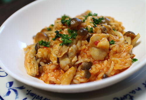 今日のキムチ料理レシピ:キムチチキンリゾット