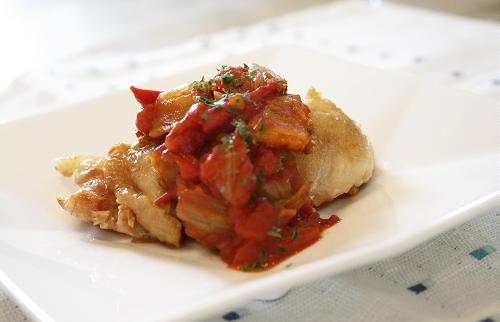 今日のキムチ料理レシピ:鶏肉のトマトキムチソース