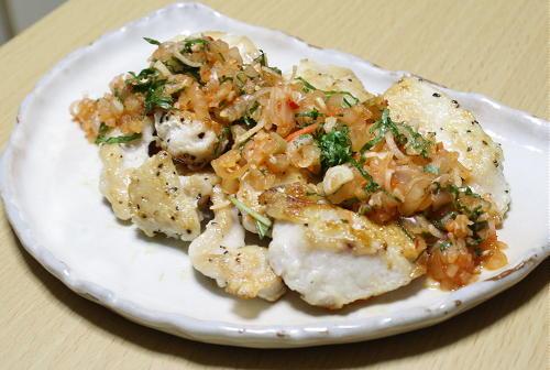 今日のキムチ料理レシピ:鶏塩のみょうがキムチだれ