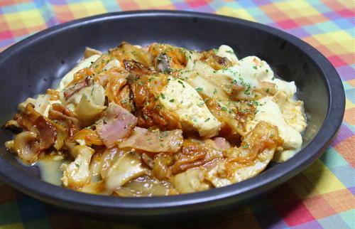 今日のキムチ料理レシピ:エリンギと豆腐のキムチチーズ焼き