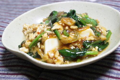 今日のキムチ料理レシピ:豆腐のほうれん草とキムチのあんかけ