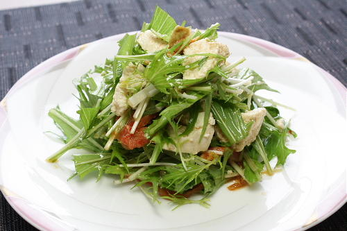 今日のキムチ料理レシピ:豆腐と水菜のキムチサラダ