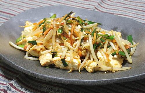 今日のキムチ料理レシピ:豆腐ともやしのキムチ炒め