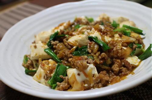 今日のキムチ料理レシピ:豆腐のにらキムチ炒め
