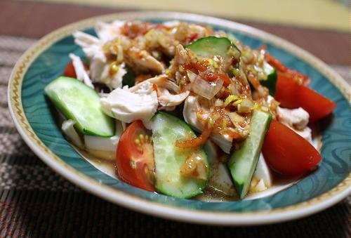 今日のキムチ料理レシピ:鶏のささみと豆腐のねぎキムチドレ
