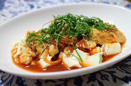 ピリ辛ささみ豆腐レシピ