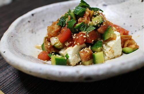 今日のキムチ料理レシピ:豆腐の夏野菜キムチドレ