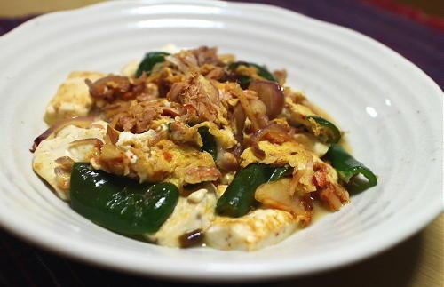 今日のキムチレシピ:豆腐とキムチの卵とじ