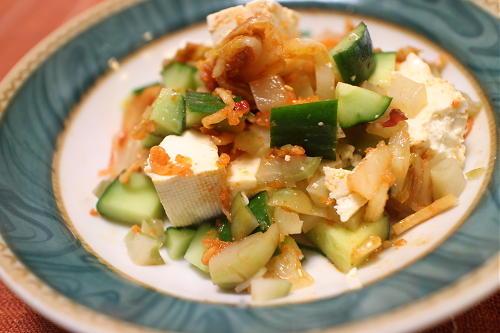 今日のキムチレシピ:豆腐のザーサイキムチサラダ