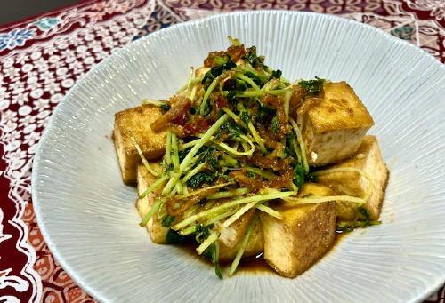 今日のキムチ料理レシピ:厚揚げピリ辛胡麻和え