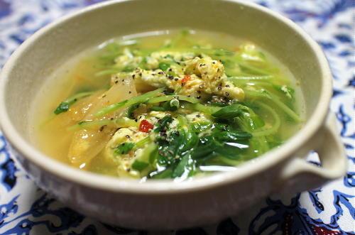 今日のキムチ料理レシピ:豆苗とキムチの卵スープ