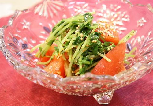 今日のキムチ料理レシピ:豆苗とキムチのサラダ