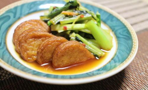 今日のキムチ料理レシピ:さつま揚げと小松菜のピリ辛煮
