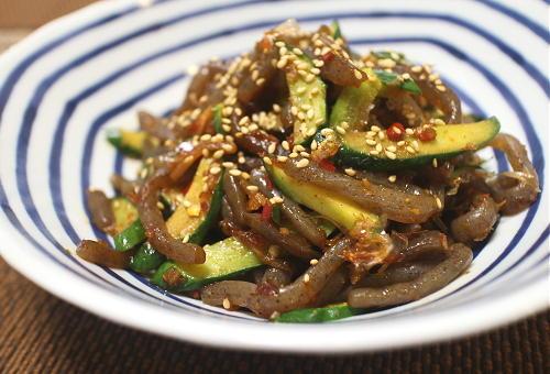 今日のキムチ料理レシピ:胡瓜とこんにゃくのピリ辛きんぴら