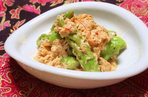 今日のキムチ料理レシピ:ピリ辛ツナアスパラ