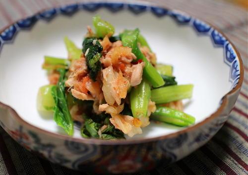 今日のキムチ料理レシピ:小松菜とキムチのツナ和え