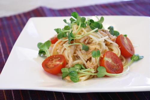 今日のキムチ料理レシピ:ツナとキムチの冷製パスタ