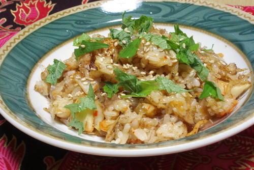 今日のキムチ料理レシピ:じゃこ梅キムチチャーハン