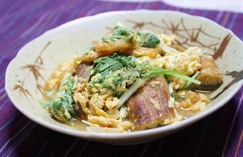 今日のキムチ料理レシピ:鰻とキムチの卵とじ
