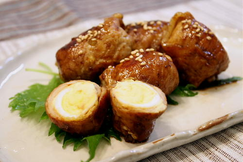 今日のキムチ料理レシピ:うずらの卵の豚キムチ巻き