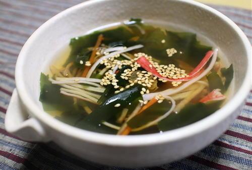 今日のキムチ料理レシピ:カニカマとキムチの簡単スープ