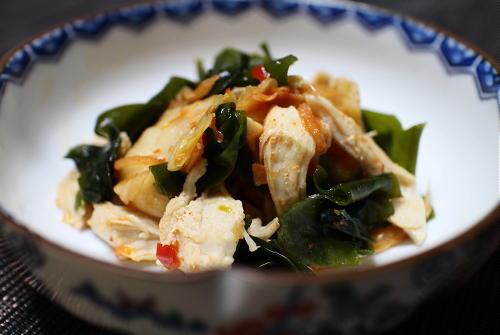 今日のキムチ料理レシピ:ささみとわかめのキムチポン酢和え