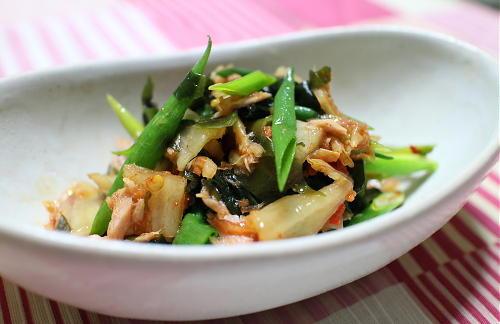 今日のキムチ料理レシピ:わかめとツナのキムチ和え