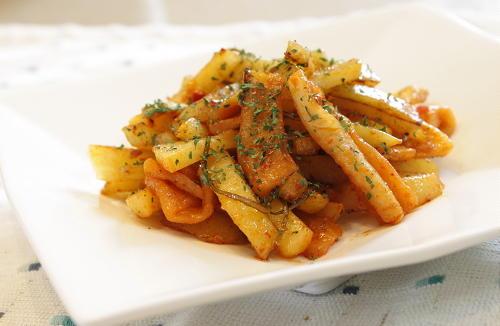 今日のキムチ料理レシピ:ジャガイモと割干しキムチのマヨネーズ炒め