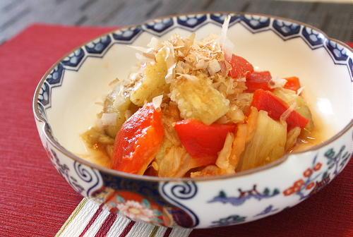 今日のキムチ料理レシピ: 焼きナスとキムチのお浸し