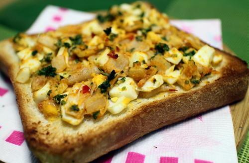 今日のキムチレシピ:ゆで卵キムチトースト