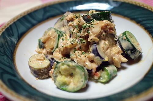 今日のキムチ料理レシピ:ナスとズッキーニのキムチマヨ和え