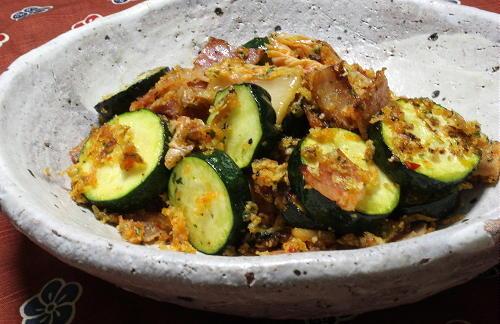 今日のキムチ料理レシピ:ズッキーニのキムチパン粉焼き
